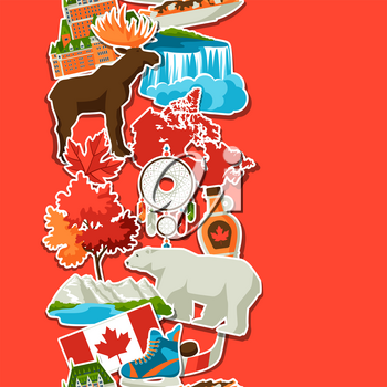 Canada sticker seamless pattern. Canadian traditional symbols and attractions.