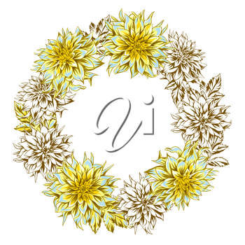 Decorative wreath with fluffy yellow dahlias. Beautiful decorative flowers, leaves and buds.