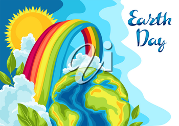 Happy Earth Day card. Illustration for environment safety celebration.