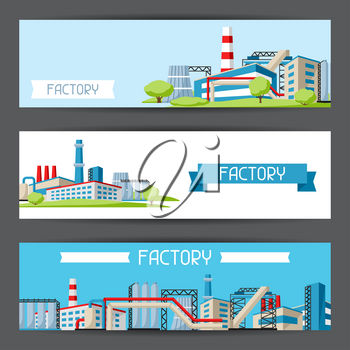 Industrial factory banners. Manufacture building illustration in flat style.