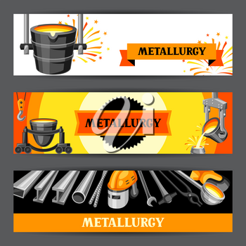 Metallurgical banners design. Industrial items and equipment.