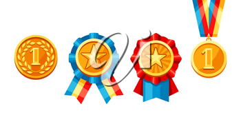 Set of gold medals with colored ribbon. Illustration of award for sports or corporate competitions.
