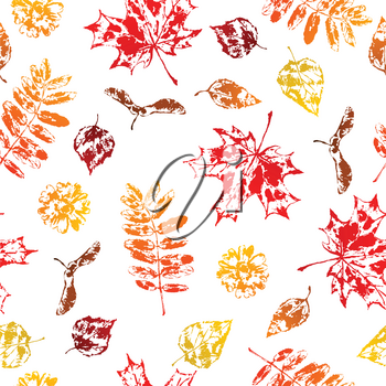 Seamless pattern with printed leaves. Art illustration of autumn foliage.