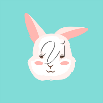 Cute Easter Bunny illustration. Cartoon rabbit smile character for traditional celebration.