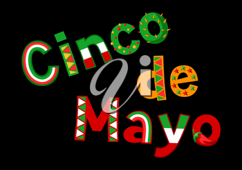 Cinco de mayo greeting card. Patterned lettering text.