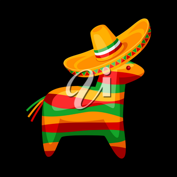 Illustration of colorful pinata in mexican sombrero. Funny traditional game for children.