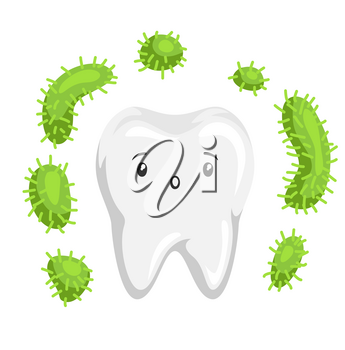 Illustration of tooth with bacteria in mouth. Children dentistry sad character. Kawaii facial expression.