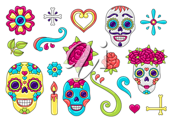 Day of the Dead items set. Sugar skulls with floral ornament. Mexican talavera ceramic tile traditional decorative objects.