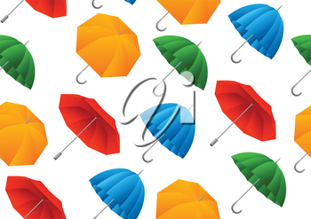 Seamless pattern with color umbrella. Cartoon illustration of bright accessories.
