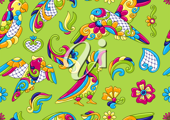 Mexican talavera ceramic tile pattern with tropical parrots. Traditional decorative objects. Ethnic folk ornament. Decoration with ornamental birds.