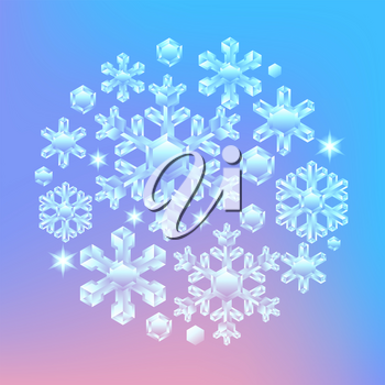 Card with crystal snowflakes. Background for Merry Christmas and Happy New Year.