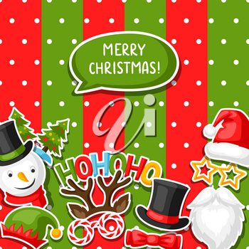 Merry Christmas card with photo booth stickers. Design for festival and party.