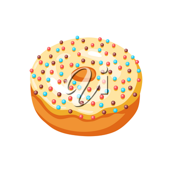 Illustration of glaze donut with sprinkles. Colored sweet pastry.
