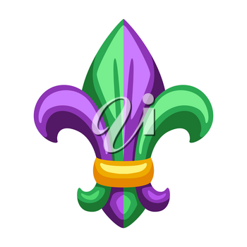 Mardi Gras fleur de lis heraldic symbol. Illustration for traditional holiday or festival.