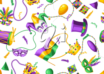 Mardi Gras party seamless pattern. Carnival background for traditional holiday or festival.
