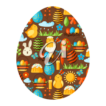 Happy Easter greeting card with holiday items. Decorative symbols and objects, eggs, bunnies.