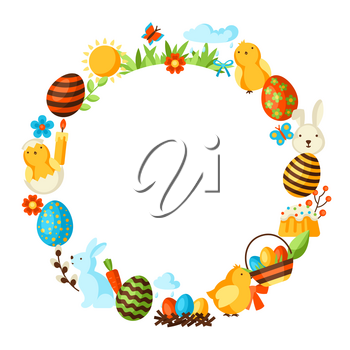 Happy Easter frame with holiday items. Decorative symbols and objects, eggs, bunnies.