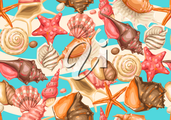 Seamless pattern with seashells. Tropical underwater mollusk shells decorative illustration.