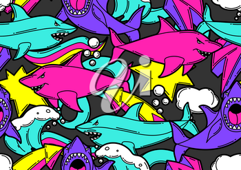 Seamless pattern with cartoon sharks. Urban colorful teenage creative background. Fashion symbols in modern comic style.