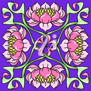 Art Nouveau ceramic tile pattern. Floral motifs in retro style. Vintage pottery with flowers and leaves.