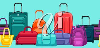 Seamless pattern with travel suitcases and bags. Background for tourism and shops.