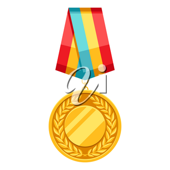 Gold medal with multi colored ribbon. Illustration of award for sports or corporate competitions.
