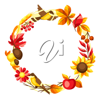 Autumn frame with seasonal leaves and items. Illustration of foliage and flowers.