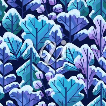 Winter seamless pattern with trees. Natural stylized illustration of forest.