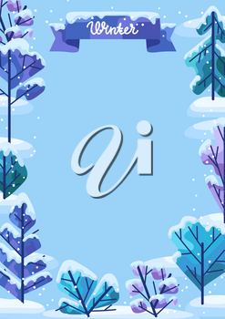 Winter background with trees. Natural stylized illustration of forest.