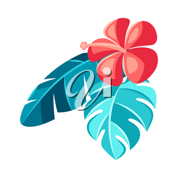 Illustration of hibiscus flower and palm leaves. Tropical floral decorative element.