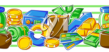 Banking seamless pattern with money icons. Business background with finance items. Economy and commerce stylized image.