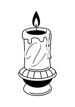 Magic antique candle on candlestick. Mystic, alchemy, spirituality, tattoo art. Isolated vector illustration. Black and white simbol.