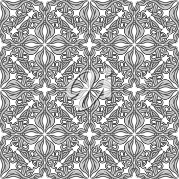 Portuguese azulejo ceramic tile seamless pattern. Mediterranean traditional ornament. Italian pottery or spanish majolica. Baroque damask background with vintage scroll leaves.