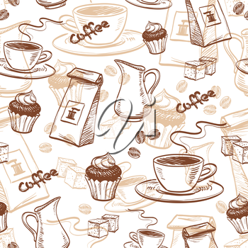 Seamless pattern with coffee beans, cup of coffee, cupcake, milk, packet of coffee and sugar cubes. Hand drawn vector illustration.