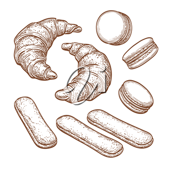 Pastry sweets collection isolated on white background. Sketch set. Hand drawn vector illustration.