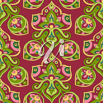 Ethnic seamless pattern. Oriental decorative elements. Boho style vector illustration. Abstract background.