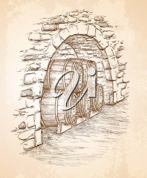 Ancient cellar with wooden barrels. Hand drawn vector illustration on old paper background. Retro style.
