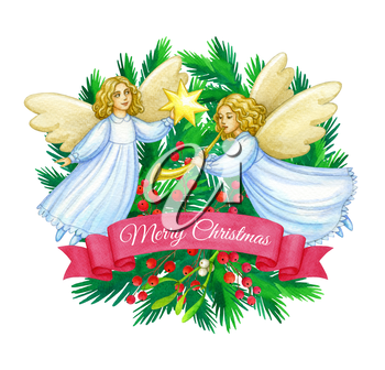 Christmas cute angels. Hand drawn watercolor illustration. Banner template. Greeting card. New Year and Xmas Holidays design.