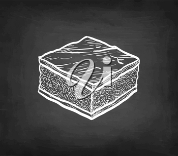 Chocolate brownie. Chalk sketch on blackboard background. Hand drawn vector illustration. Retro style.