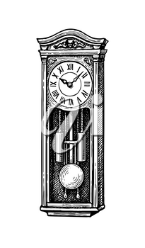 Vintage pendulum clock. Ink sketch isolated on white background. Hand drawn vector illustration. Retro style.