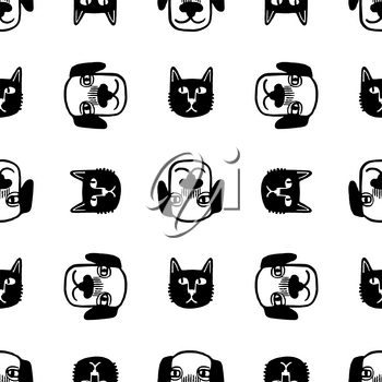 Seamless pattern with cute cats and dogs. Doodle sketches of pets. Hand drawn vector illustration of funny characters.