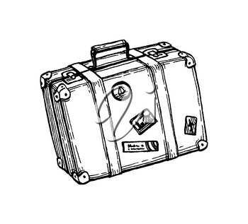 Suitcase with stickers. Ink sketch isolated on white background. Hand drawn vector illustration. Retro style.