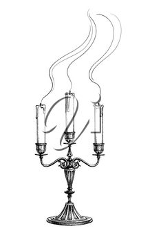 Extinguished candles in candelabrum. Ink sketch isolated on white background. Hand drawn vector illustration. Retro style.