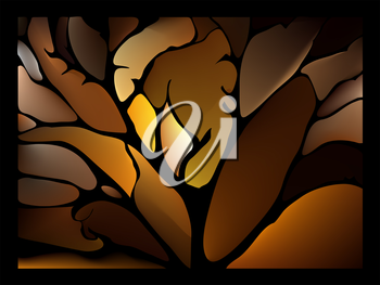 Dark chocolate brown background stained glass window with fantastic leaves