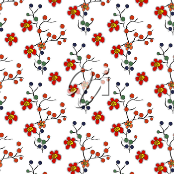 Fun colourful flower in seamless pattern for baby products and pictures