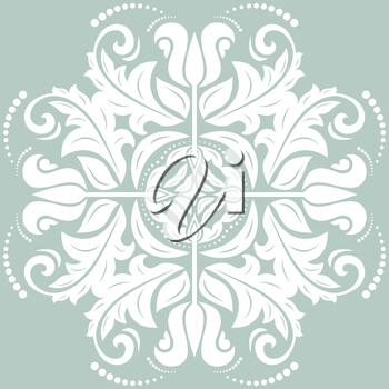 Floral vector oriental pattern with arabesque and floral elements. Blue-white fine abstract ornament