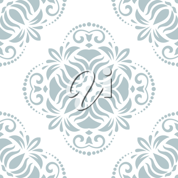 Oriental vector pattern with damask, arabesque and floral elements. Light seamless abstract background