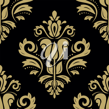 Damask vector floral pattern with arabesque and oriental golden elements. Dark seamless abstract traditional ornament for wallpapers and background