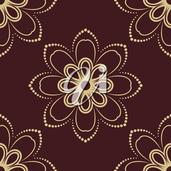Floral vector oriental pattern with damask, arabesque and floral golden elements. Seamless abstract ornament for wallpapers and backgrounds