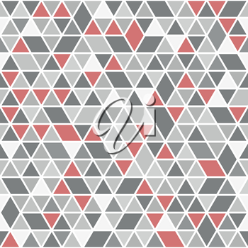 Geometric vector pattern with red and gray triangles. Geometric modern ornament. Seamless abstract background